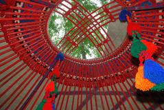 The interior of the yurt Stock Images
