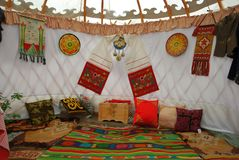 The interior of the yurt Royalty Free Stock Photos