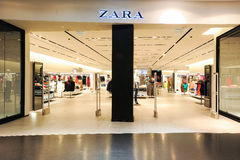 Interior of Zara fashion clothes store Stock Images