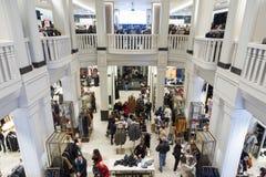 Interior of Zara store on Gran Via shopping street in Madrid, Spain.. royalty free stock photography
