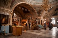 The interior of the Znamensky Cathedral. Tyumen, Russia - October 21, 2018: The interior of the Znamensky Cathedral stock photos
