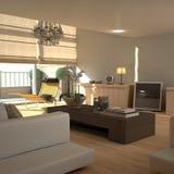 Interiore beige elegante (pieno di sole) fotografia stock libera da diritti