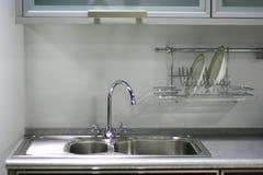 Interiore bianco della cucina Fotografie Stock Libere da Diritti