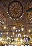 Interiore blu della moschea Fotografia Stock