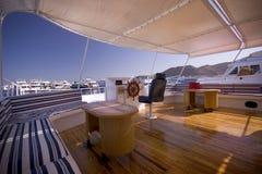 Interiore classico dell'yacht Fotografia Stock Libera da Diritti
