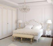 Interiore classico della camera da letto. illustrazione di stock
