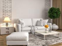 Interiore con il sofà bianco illustrazione 3D Fotografia Stock Libera da Diritti