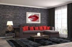Interiore con il sofà illustrazione 3D Immagini Stock Libere da Diritti