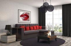 Interiore con il sofà illustrazione 3D Immagine Stock Libera da Diritti
