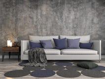 Interiore con il sofà illustrazione 3D Fotografie Stock Libere da Diritti