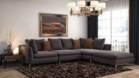 Interiore con il sofà illustrazione 3D Fotografia Stock Libera da Diritti