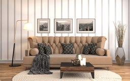 Interiore con il sofà illustrazione 3D Fotografie Stock
