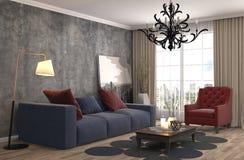 Interiore con il sofà illustrazione 3D Immagine Stock