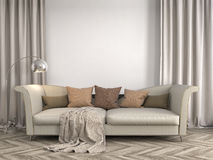 Interiore con il sofà illustrazione 3D Fotografia Stock