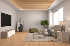 Interiore con il sofà illustrazione 3D Immagini Stock