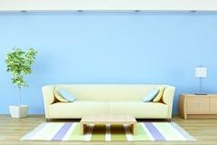 Interiore con il sofà, la pianta e la lampada illustrazione vettoriale