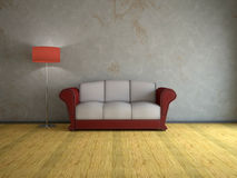 Interiore con il vecchio sofà Fotografia Stock