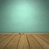 Interiore con la parete blu ed il pavimento di legno. Fotografie Stock
