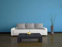 Interiore con un sofà e una tabella Immagine Stock Libera da Diritti