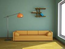 Interiore con un sofà giallo Fotografia Stock Libera da Diritti