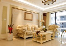 Interiore costoso di lusso del salone Fotografie Stock Libere da Diritti