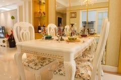 Interiore costoso di lusso della sala da pranzo Immagine Stock