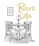 Interiore del caffè Illustrazione disegnata a mano di vettore Fotografia Stock