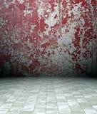 interiore del grunge 3d, parete arrugginita rossa Fotografia Stock Libera da Diritti