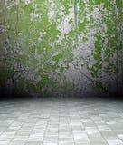 interiore del grunge 3d, parete arrugginita verde Fotografia Stock Libera da Diritti
