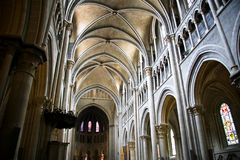 Interiore del Notre Dame della cattedrale a Losanna Immagine Stock Libera da Diritti
