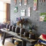 Interiore del ristorante cinese del tè Fotografie Stock Libere da Diritti