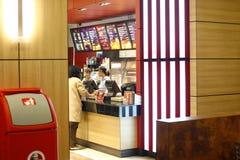 Interiore del ristorante degli alimenti a rapida preparazione Fotografia Stock