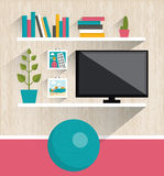 Interiore del salone Scaffali di libro e della TV Fotografie Stock