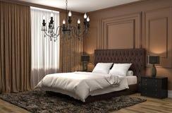 Interiore della camera da letto illustrazione 3D Fotografia Stock