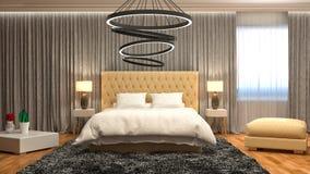 Interiore della camera da letto illustrazione 3D Immagini Stock