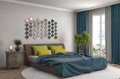 Interiore della camera da letto illustrazione 3D Fotografie Stock