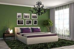 Interiore della camera da letto illustrazione 3D Fotografia Stock Libera da Diritti