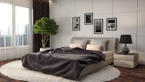 Interiore della camera da letto illustrazione 3D Immagini Stock Libere da Diritti