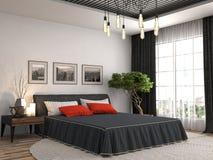 Interiore della camera da letto illustrazione 3D Fotografie Stock Libere da Diritti
