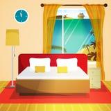 Interiore della camera di albergo Interno della casa della camera da letto con il letto e la finestra Fotografie Stock Libere da Diritti