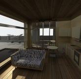 Interiore della casa con il raggruppamento del giardino Immagini Stock