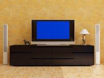 Interiore della casa con plasma TV Fotografie Stock Libere da Diritti