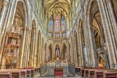 Interiore della cattedrale della st Vitus a Praga, Repubblica ceca Fotografia Stock