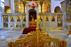 Interiore della chiesa greca Fotografia Stock