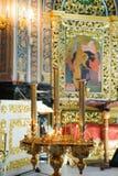 Interiore della chiesa ortodossa Immagini Stock Libere da Diritti