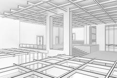 Interiore della cianografia Immagini Stock