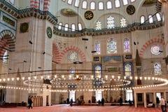 Interiore della moschea di Suleymanye Fotografia Stock Libera da Diritti