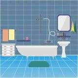 Interiore della stanza da bagno con il dispersore e lo specchio Fondo illustrazione di stock