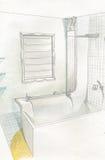 Interiore della stanza da bagno dell'illustrazione Fotografia Stock Libera da Diritti