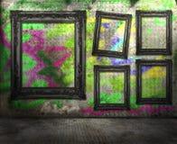 Interiore della stanza dei graffiti di Grunge Immagine Stock Libera da Diritti